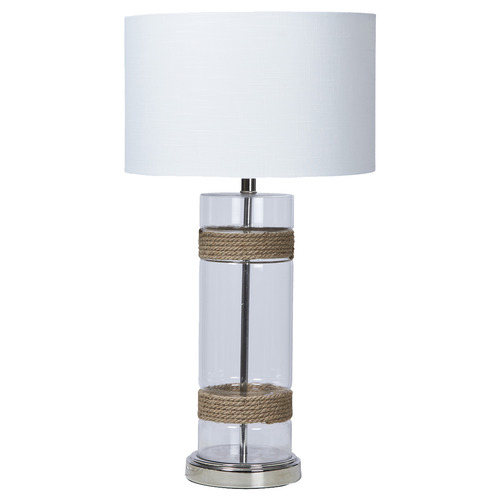 Baron Cylinder Glass & Rope Table Lamp