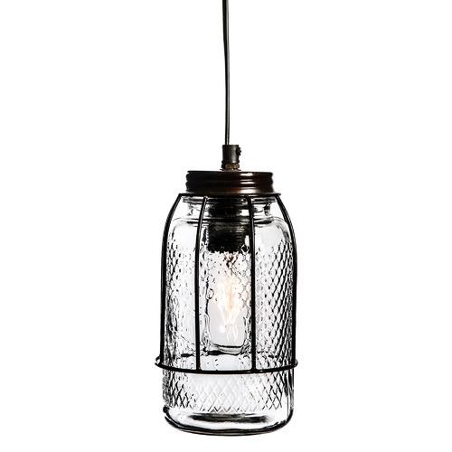 Vintage-Style Palmes Iron & Glass Pendant Light