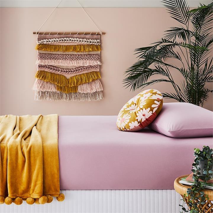 Adairs Kids Cotton Jersey Fitted Sheet Set SB Violet Pink Fitted Set - Violetpink