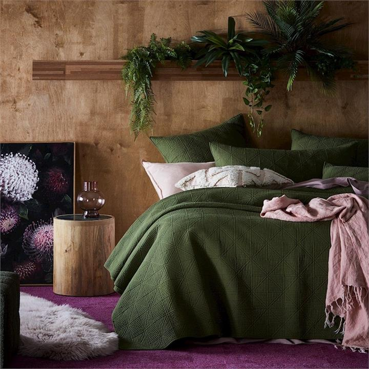 Home Republic Prism Quilted Bedlinen Coverlet Olive Sb/Db By Adairs