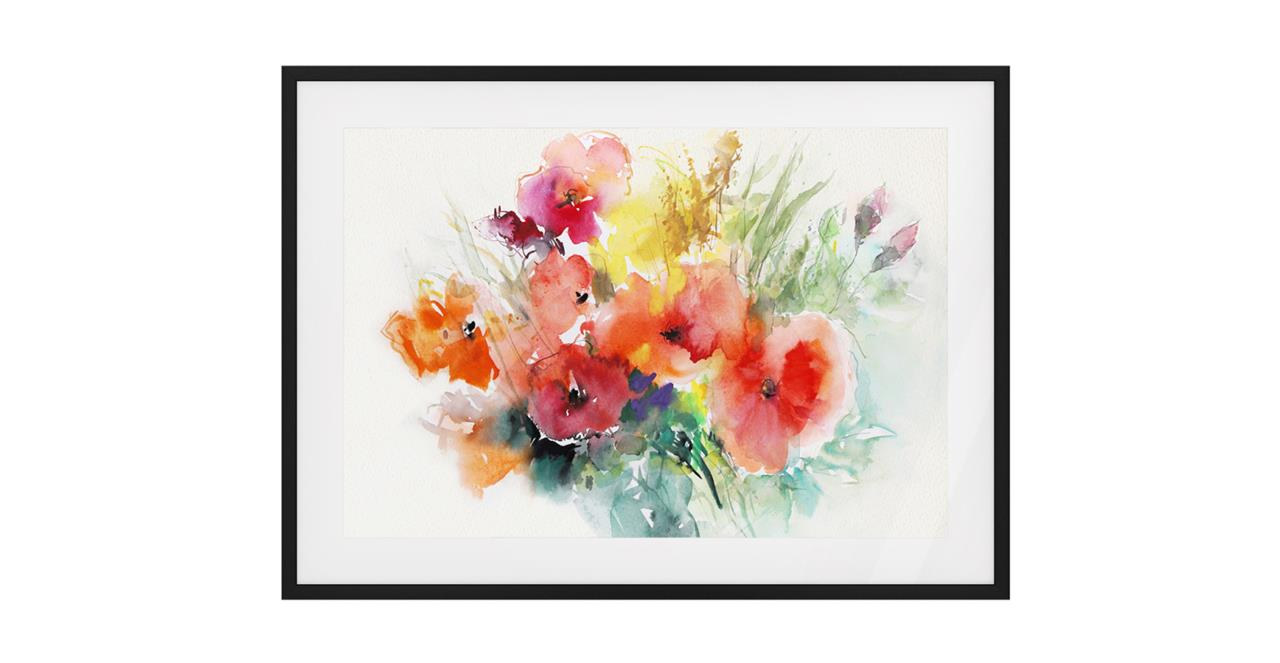 The Bouquet Print Black Wood Frame Small