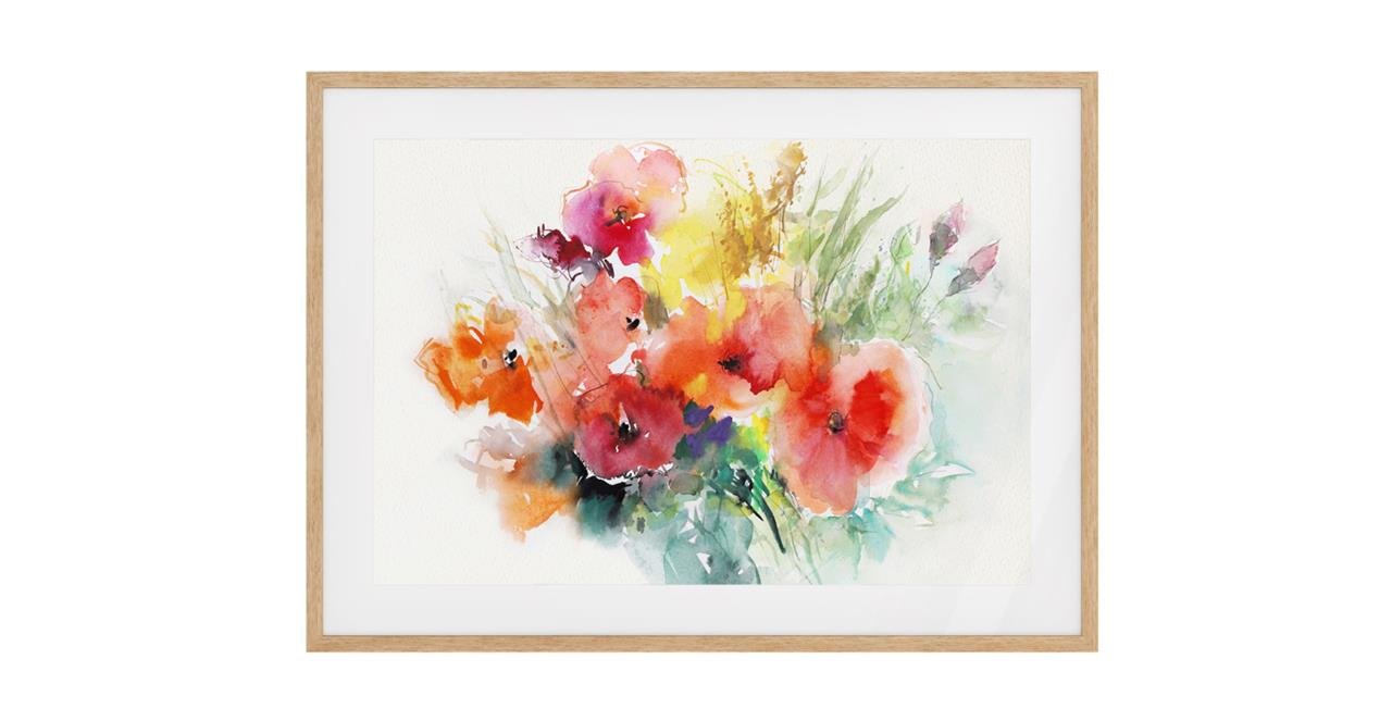 The Bouquet Print Natural Wood Frame Small