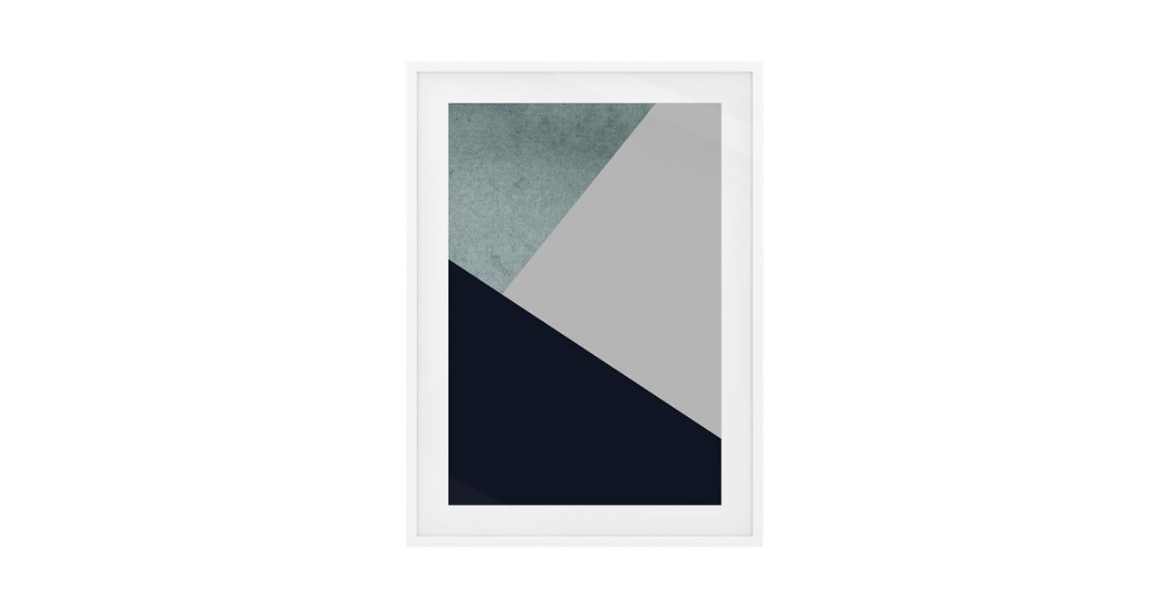 The Angles Print White Wood Frame Small