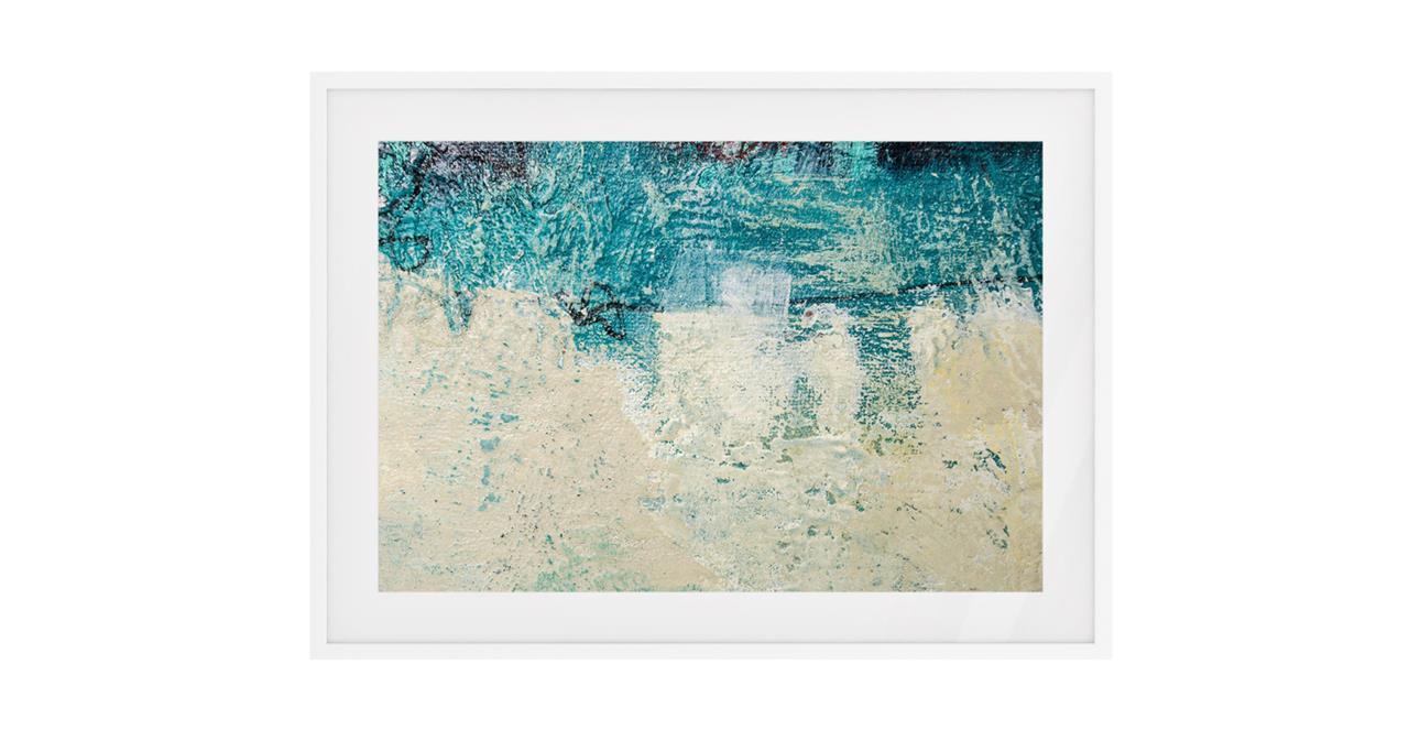 The Aqua Print White Wood Frame Small