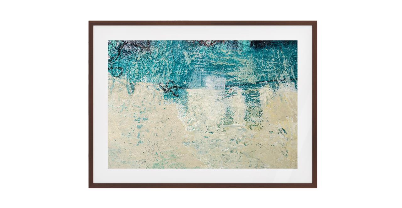 The Aqua Print Dark Brown Wood Frame Small