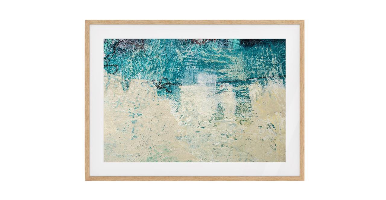The Aqua Print Natural Wood Frame Medium