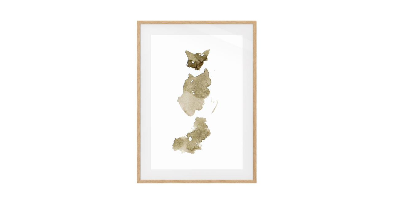 The Bronze Cat Print Natural Wood Frame Small