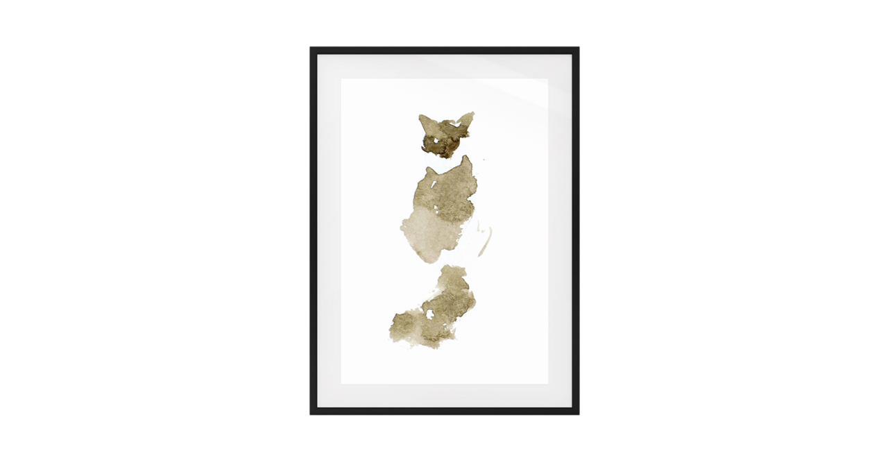 The Bronze Cat Print Black Wood Frame Medium
