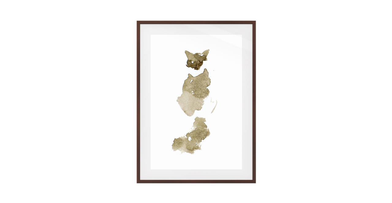 The Bronze Cat Print Dark Brown Wood Frame Medium