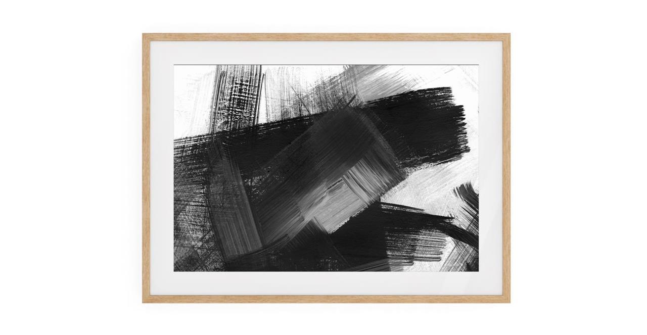The Brush Print Natural Wood Frame Small