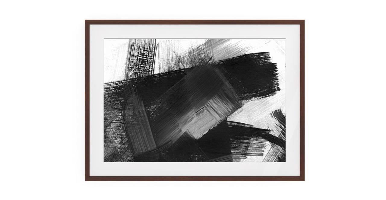The Brush Print Dark Brown Wood Frame Small