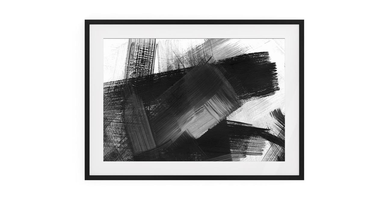 The Brush Print Black Wood Frame Medium