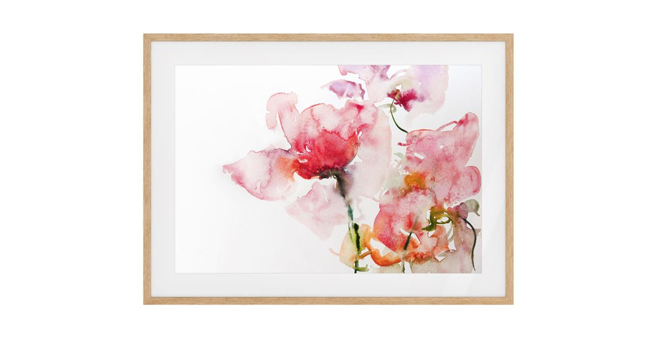 The Bud Print Natural Wood Frame Medium