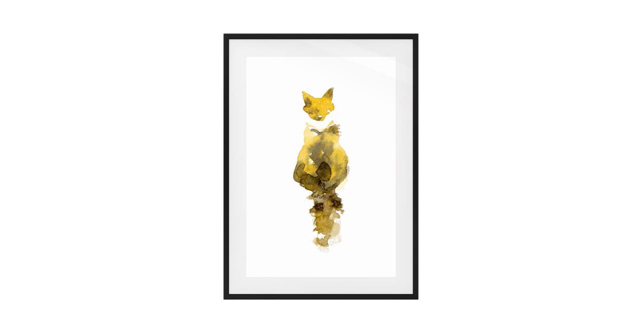 The Caramel Cat Print Black Wood Frame Small
