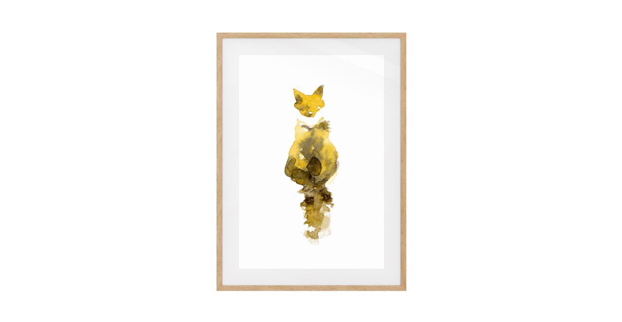 The Caramel Cat Print Natural Wood Frame Small