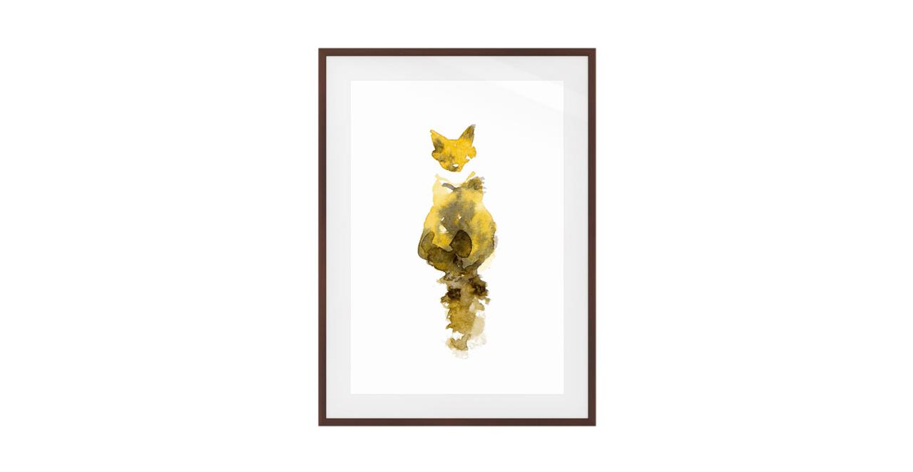 The Caramel Cat Print Dark Brown Wood Frame Small