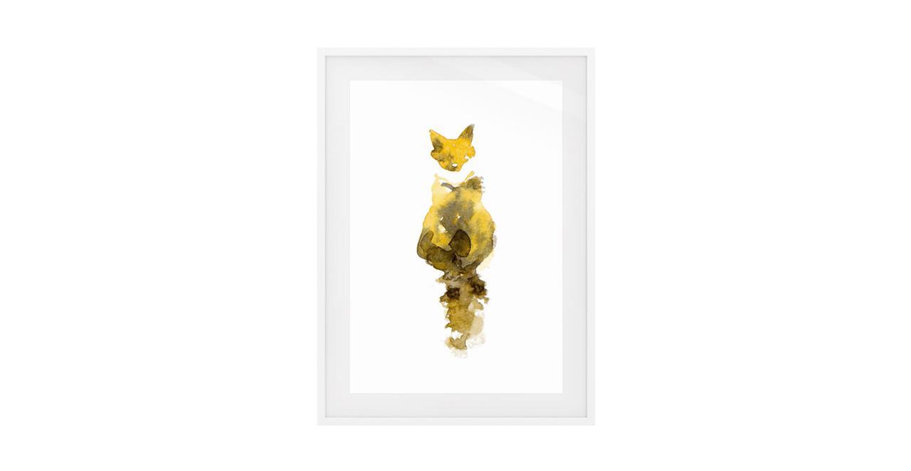 The Caramel Cat Print White Wood Frame Medium