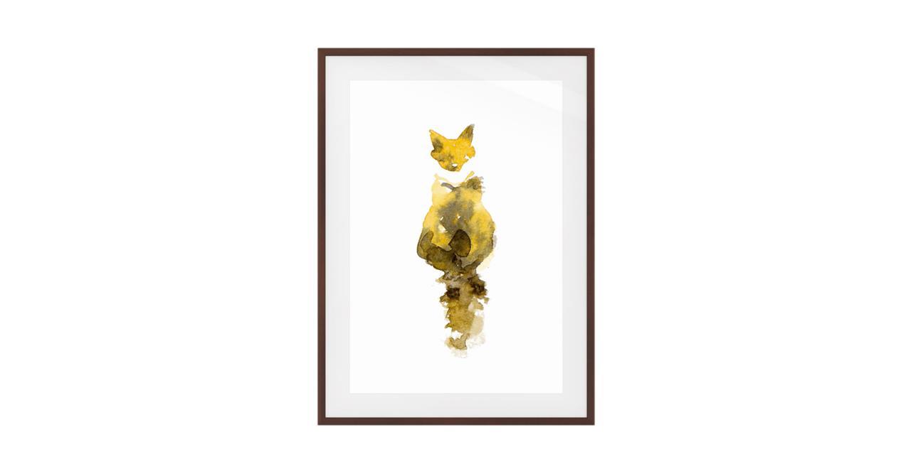 The Caramel Cat Print Dark Brown Wood Frame Medium