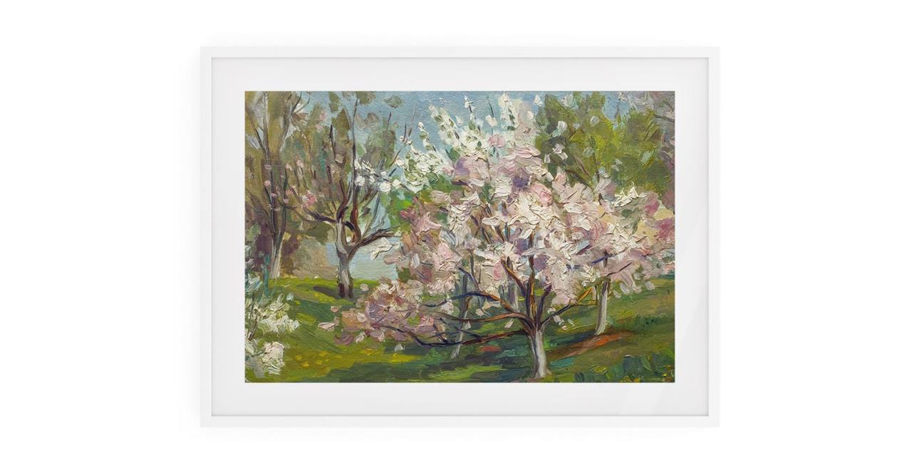 The Cherry Blossom Print White Wood Frame Small