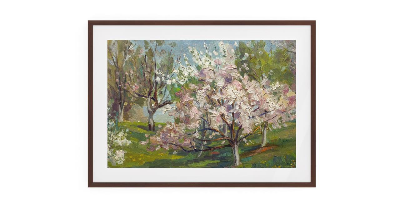 The Cherry Blossom Print Dark Brown Wood Frame Small