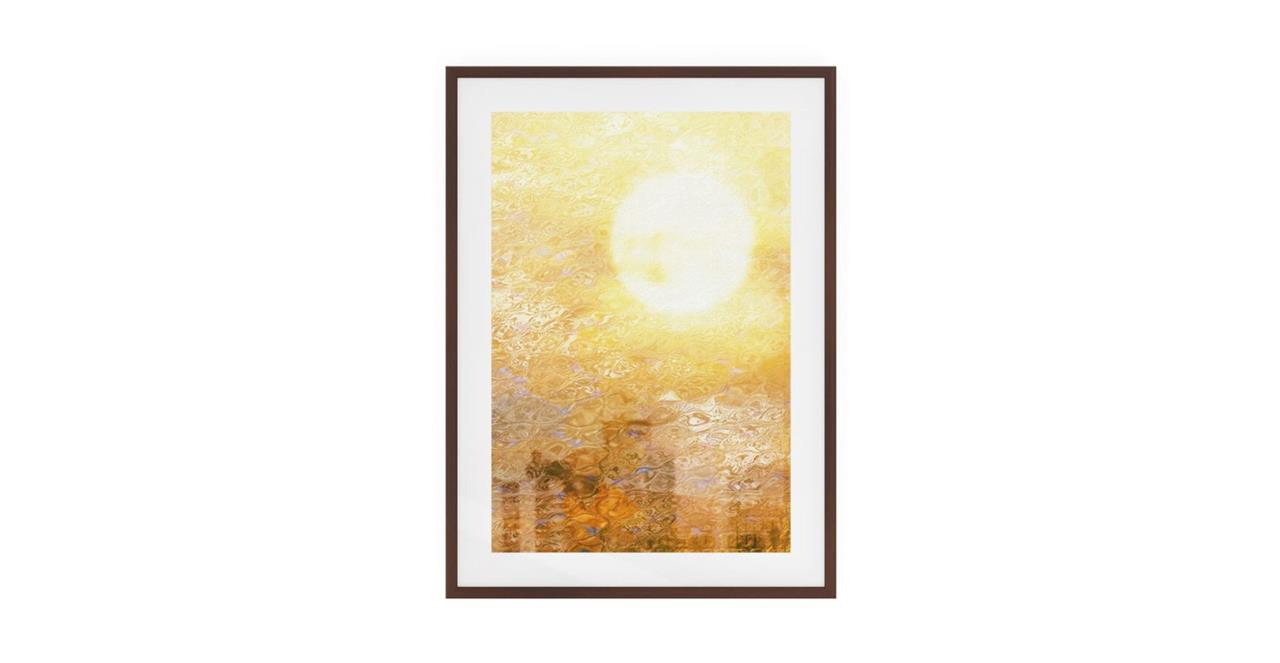 The City Sun Print Dark Brown Wood Frame Small Midday