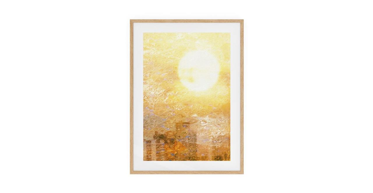 The City Sun Print Natural Wood Frame Medium Midday