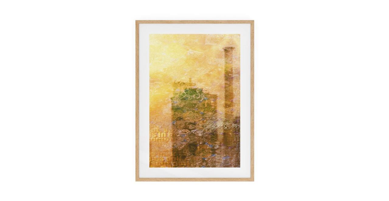 The City Sun Print Natural Wood Frame Small Afternoon