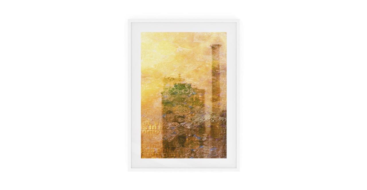 The City Sun Print White Wood Frame Medium Afternoon