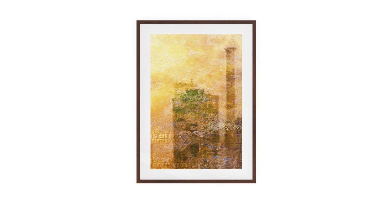 The City Sun Print Dark Brown Wood Frame Medium Afternoon