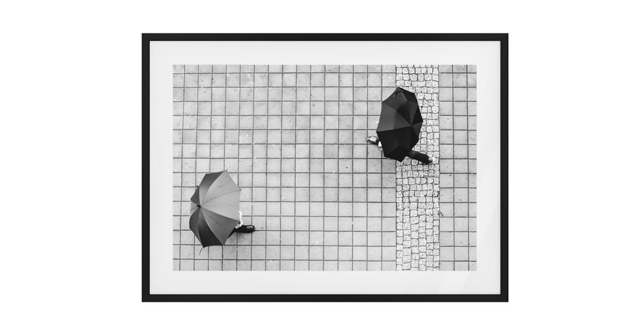 The Cobbled Print Black Wood Frame Medium