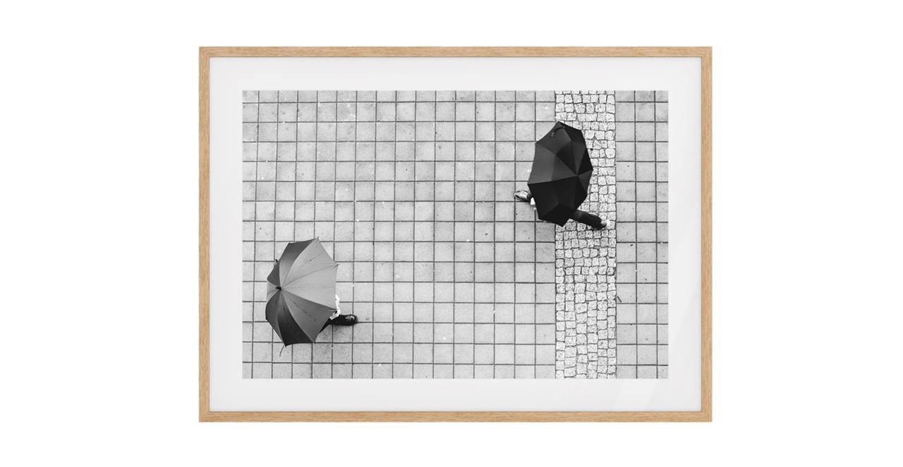 The Cobbled Print Natural Wood Frame Medium
