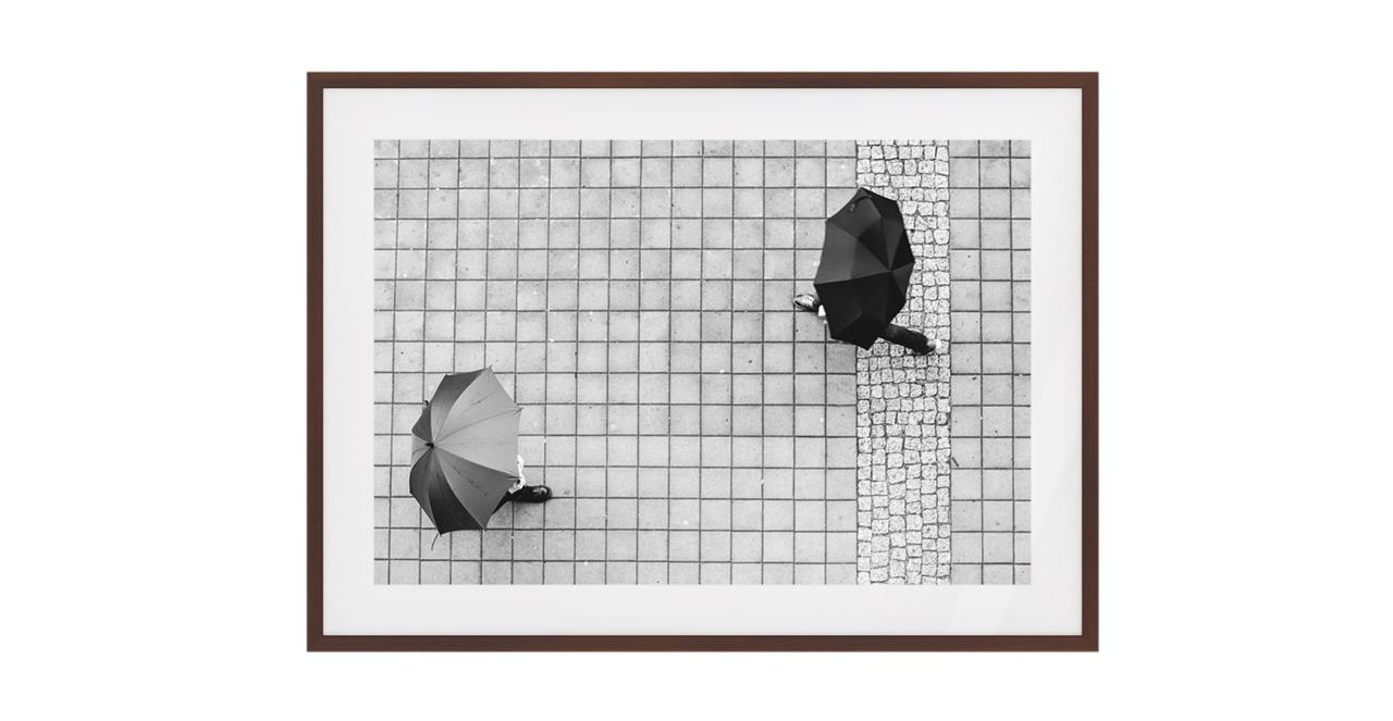 The Cobbled Print Dark Brown Wood Frame Medium