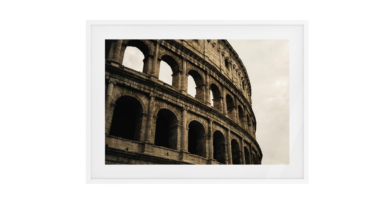 The Colosseum Print White Wood Frame Small