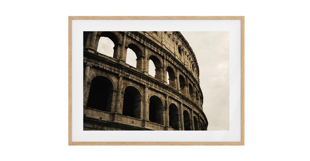 The Colosseum Print Natural Wood Frame Small
