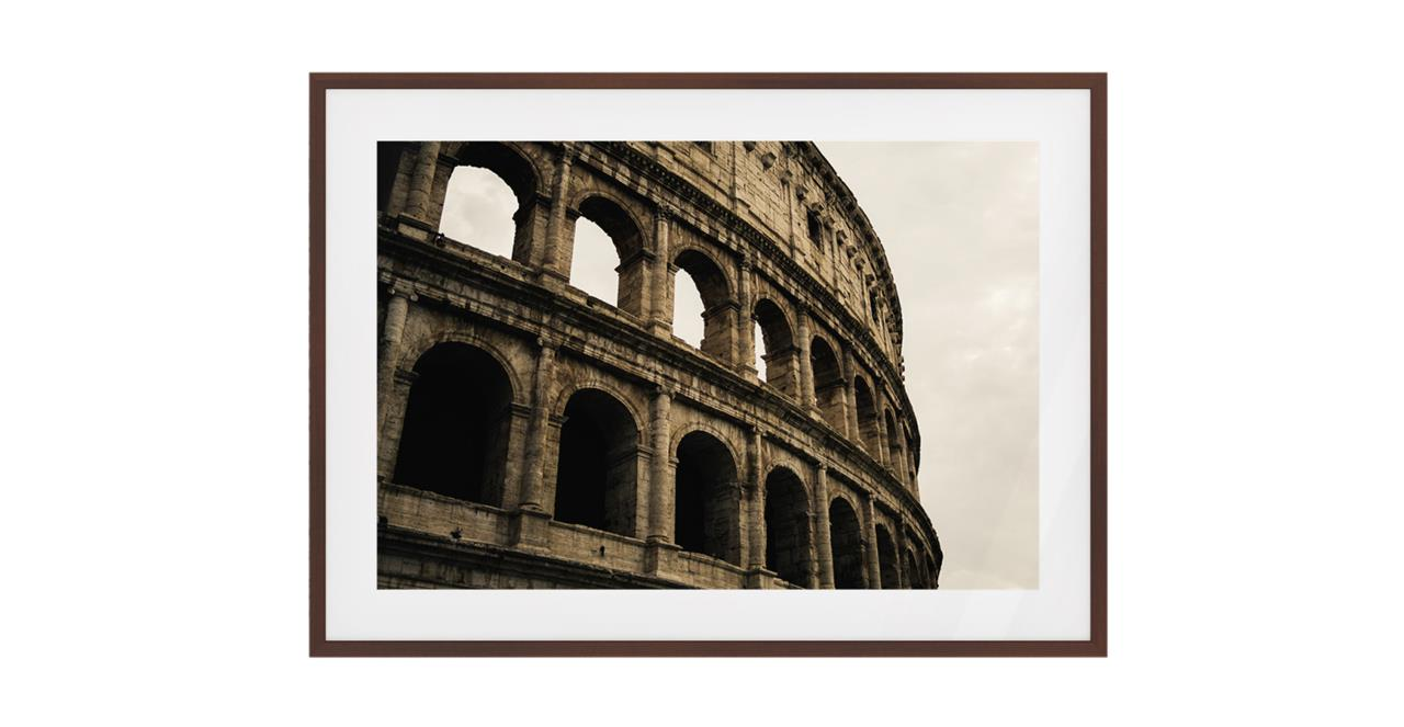 The Colosseum Print Dark Brown Wood Frame Small