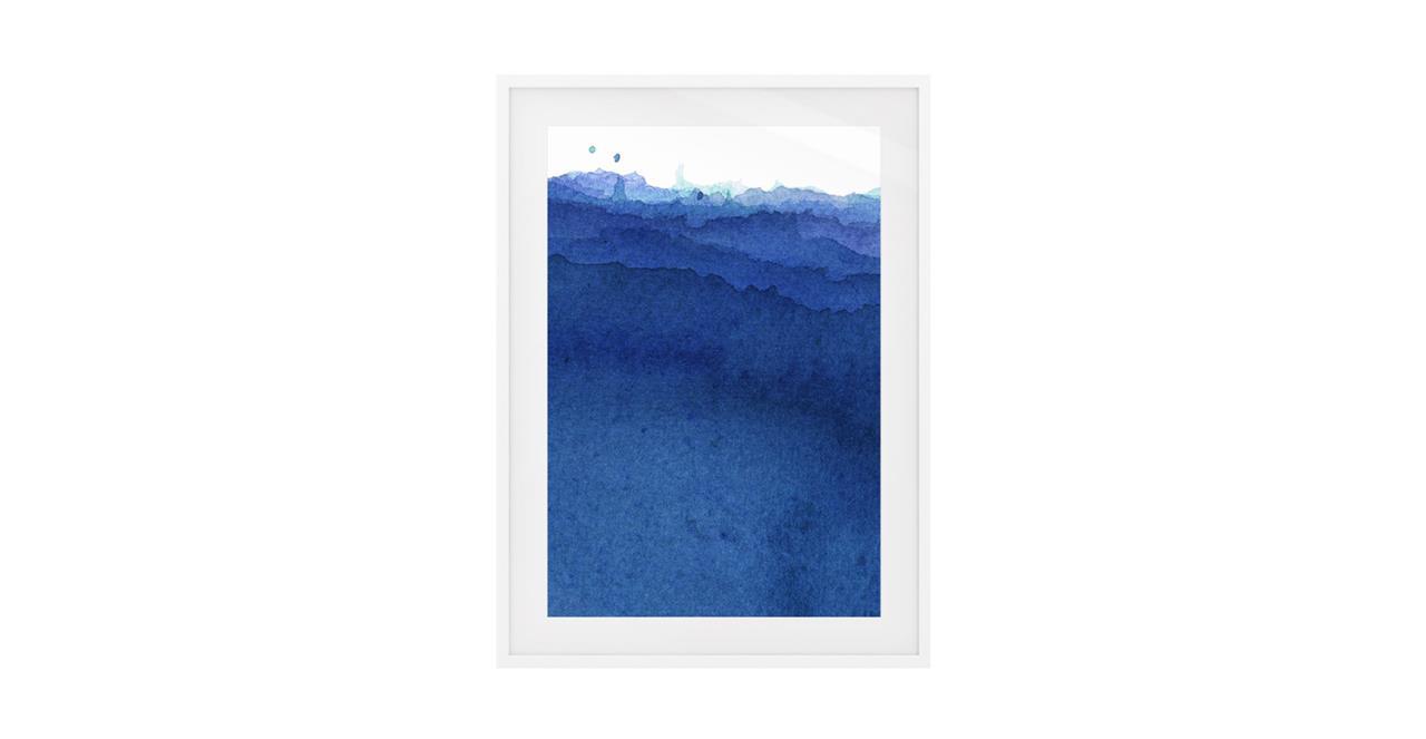The Cyan Print White Wood Frame Small Indigo
