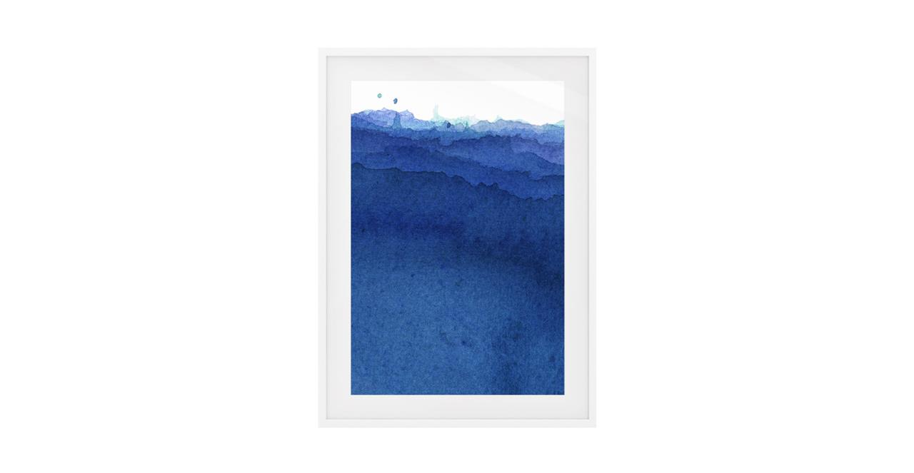 The Cyan Print White Wood Frame Medium Indigo
