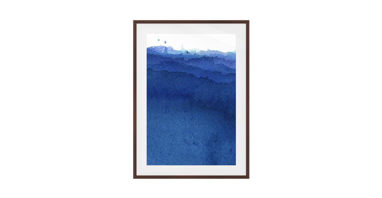 The Cyan Print Dark Brown Wood Frame Medium Indigo