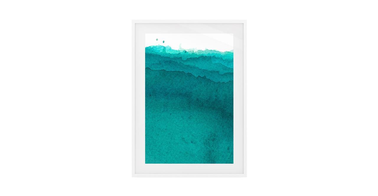 The Cyan Print White Wood Frame Small Aqua