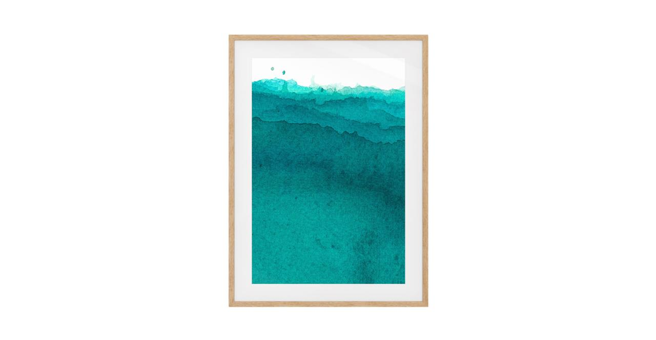 The Cyan Print Natural Wood Frame Small Aqua
