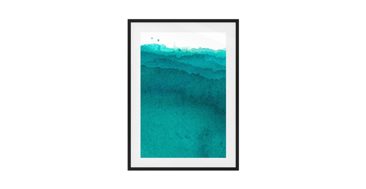 The Cyan Print Black Wood Frame Medium Aqua