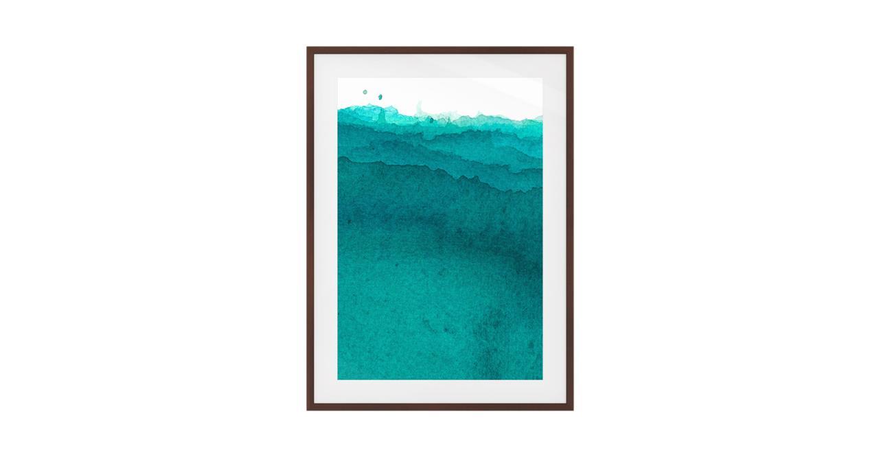 The Cyan Print Dark Brown Wood Frame Medium Aqua
