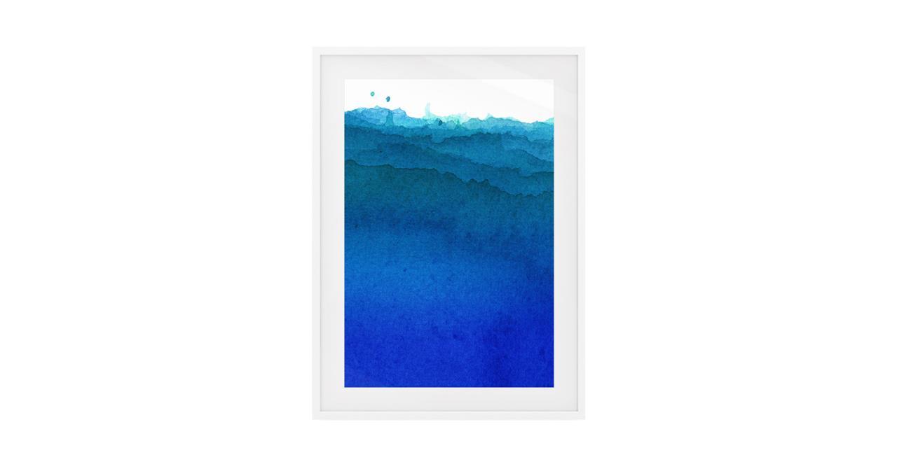 The Cyan Print White Wood Frame Small Cobalt