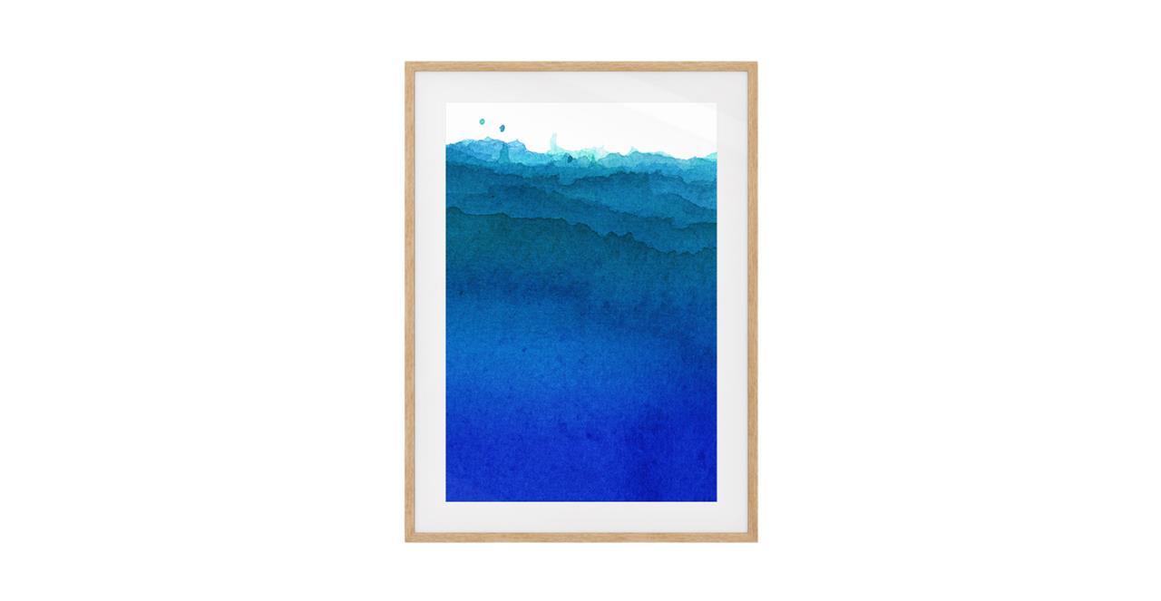 The Cyan Print Natural Wood Frame Small Cobalt