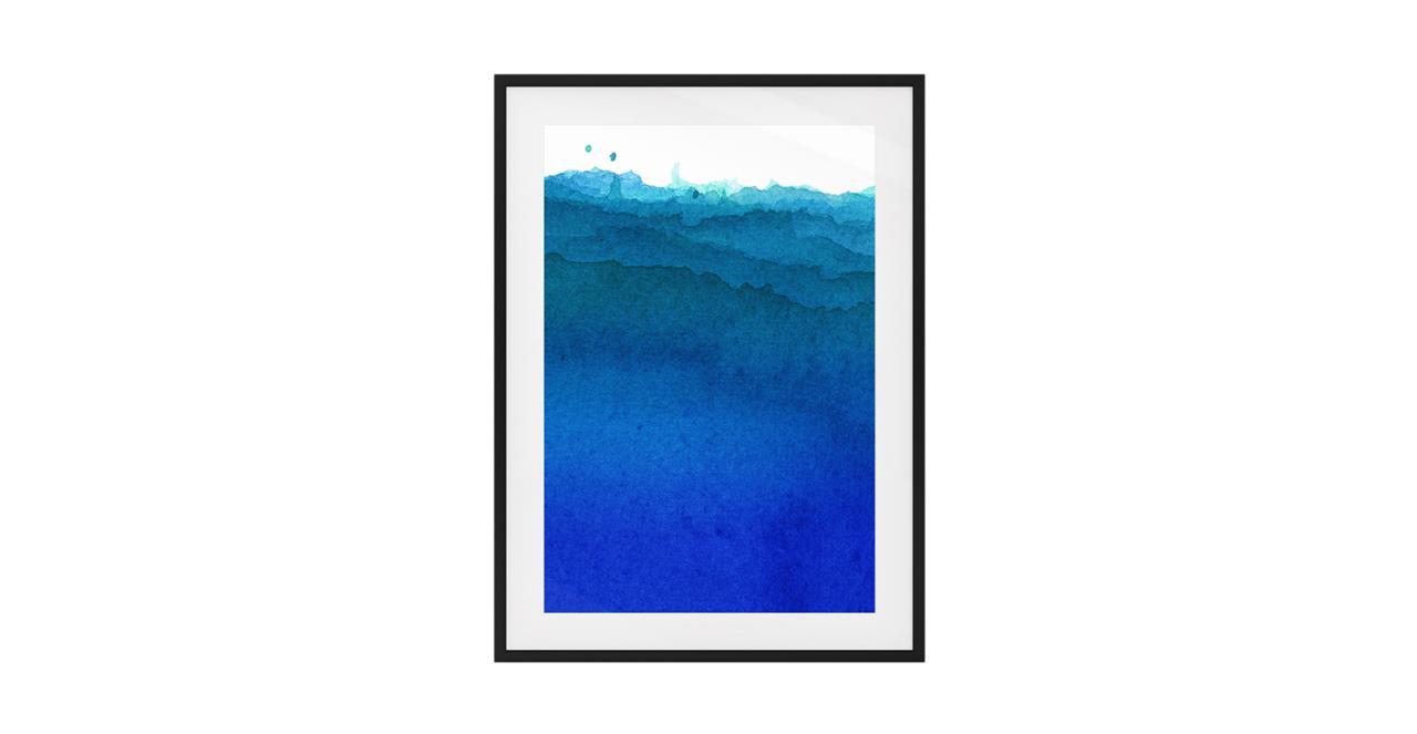 The Cyan Print Black Wood Frame Medium Cobalt