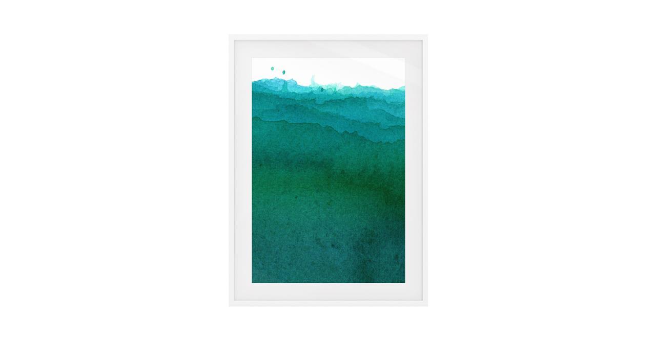 The Cyan Print White Wood Frame Small Ocean