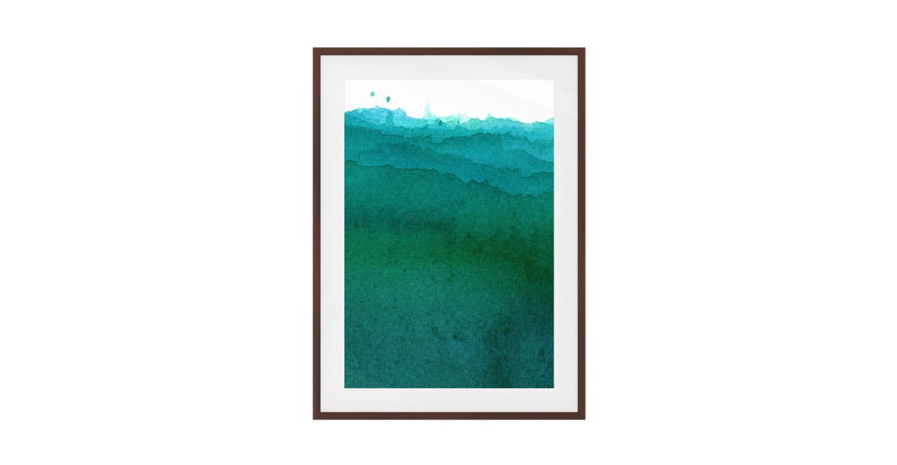 The Cyan Print Dark Brown Wood Frame Medium Ocean