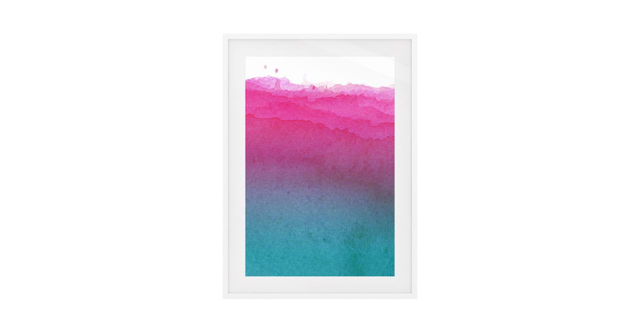The Cyan Print White Wood Frame Small Magenta