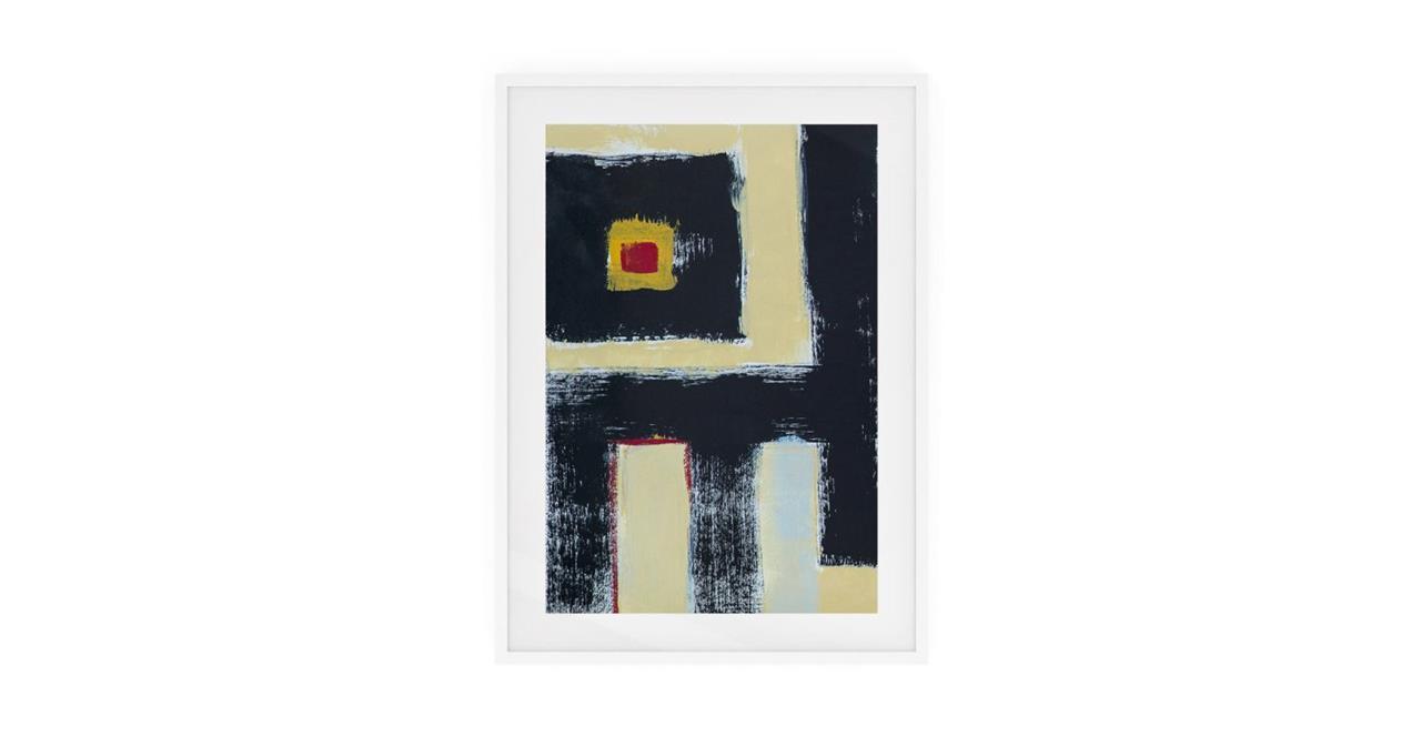 The Farbe Print White Wood Frame Small Black
