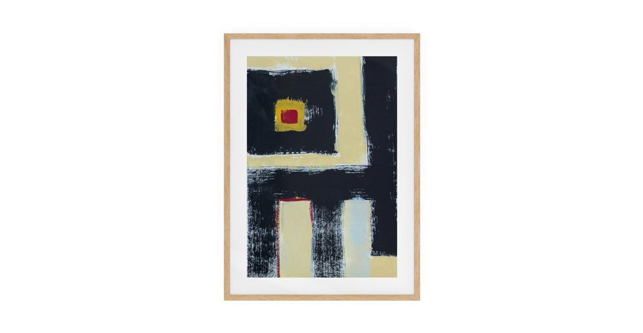The Farbe Print Natural Wood Frame Medium Black